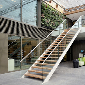 the staircase glass railing system, perfect for creating a feeling of space in an open plan office, shop or in your home