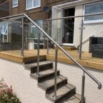Outdoor glass balustrade on a staircase